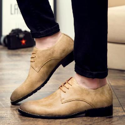 Dress shoes work men's shoes spring and autumn yellow business breathable shoes pointed British men's shoes
