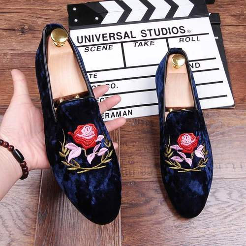 British personality tide shoes embroidery retro casual men's shoes nightclub a pedal shoes hair stylist tip WZ