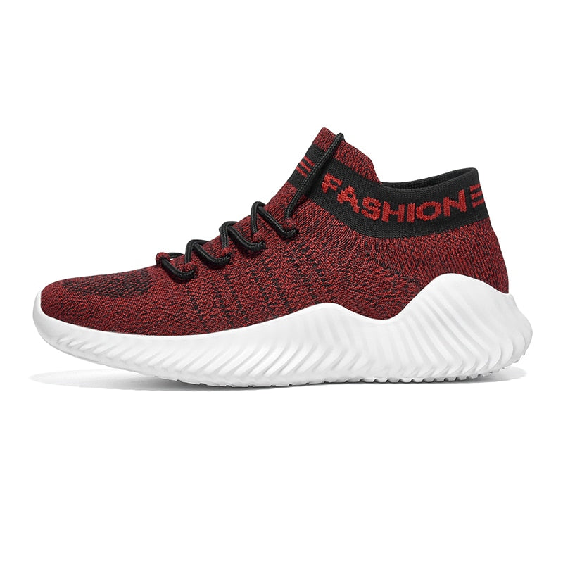 Sneakers Men Casual Shoes Lac-Up Flyknit Shoes Male Light Flats Sneakers Breathable Walking Footwear Tenis Feminino Zapatos