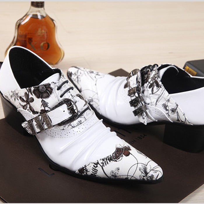 Korean version of pointed high-heeled white men's shoes, leather shoes, hair stylists, leather shoes, casual dating men's shoes.