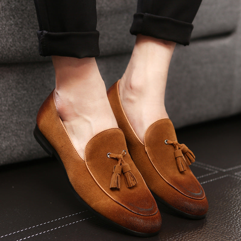 Summer new suede men's shoes leather lazy shoes