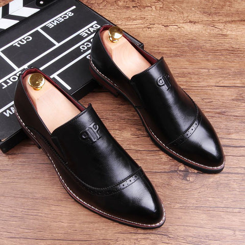 business casual shoes British pointed hair stylist men's shoes
