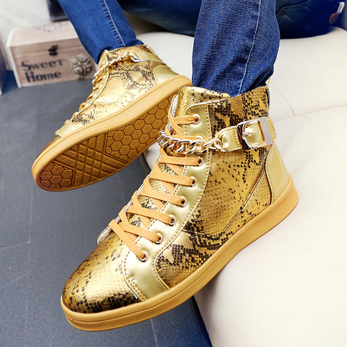 Korean version of the skateboard shoes Edison personality nightclub tide shoes metal punk high shoes gold men's shoes