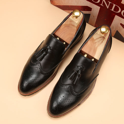 tassels breathable tidal men's shoes hairstylist pointed leather shoes
