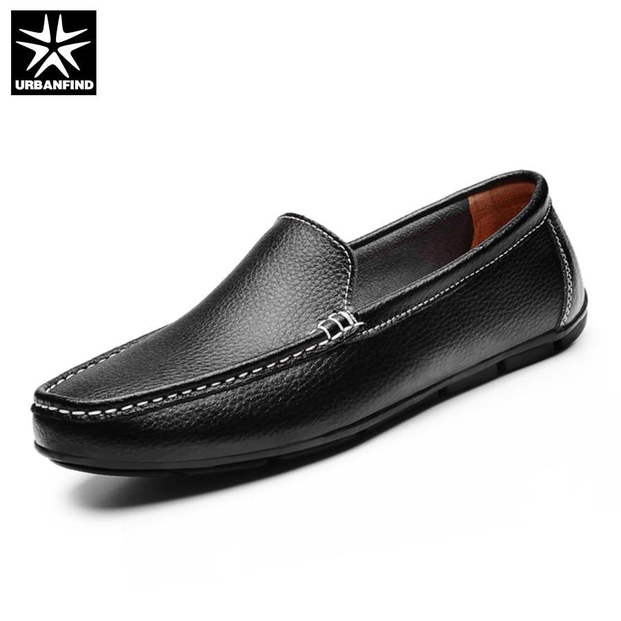 URBANFIND Men Flat Shoes Quality Split Leather Men Loafers Solid Black Breathable Slip-On Outdoor Men Driving Shoes