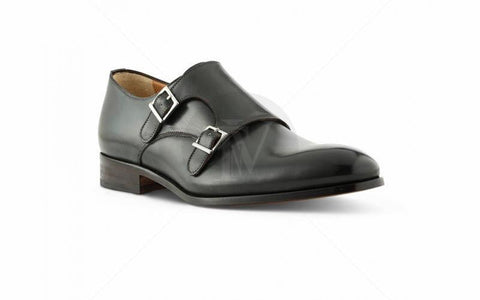 monkstrap-cuoio-antique- LEATHER SHOES -BLACK