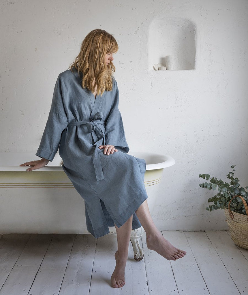 Parisian Blue Linen Bathrobe