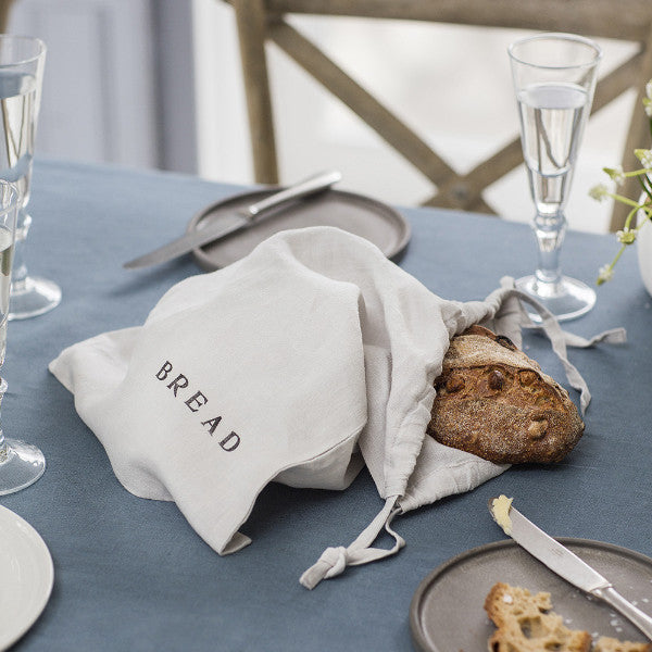 Dove Grey Linen Bread Bag | Kitchen | Fork + Rose: Home and Table Decor