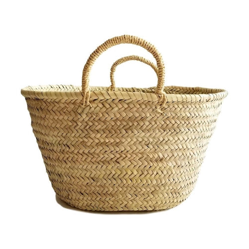 Straw Market Basket bag with Straw Handles
