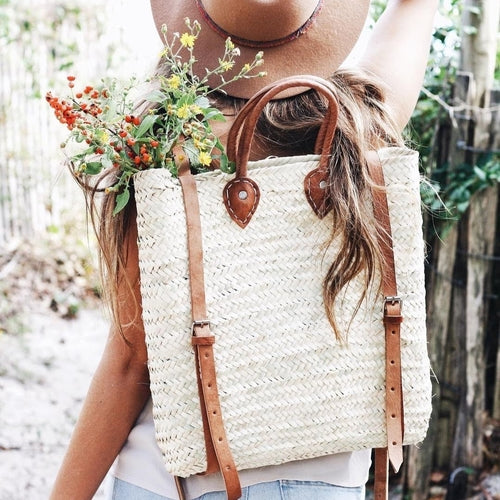 Handwoven Straw Backpack, Tan Leather
