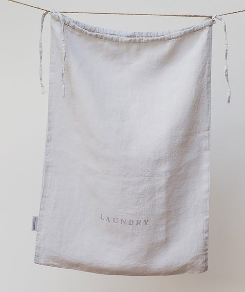 Dove Grey Linen Laundry Bag