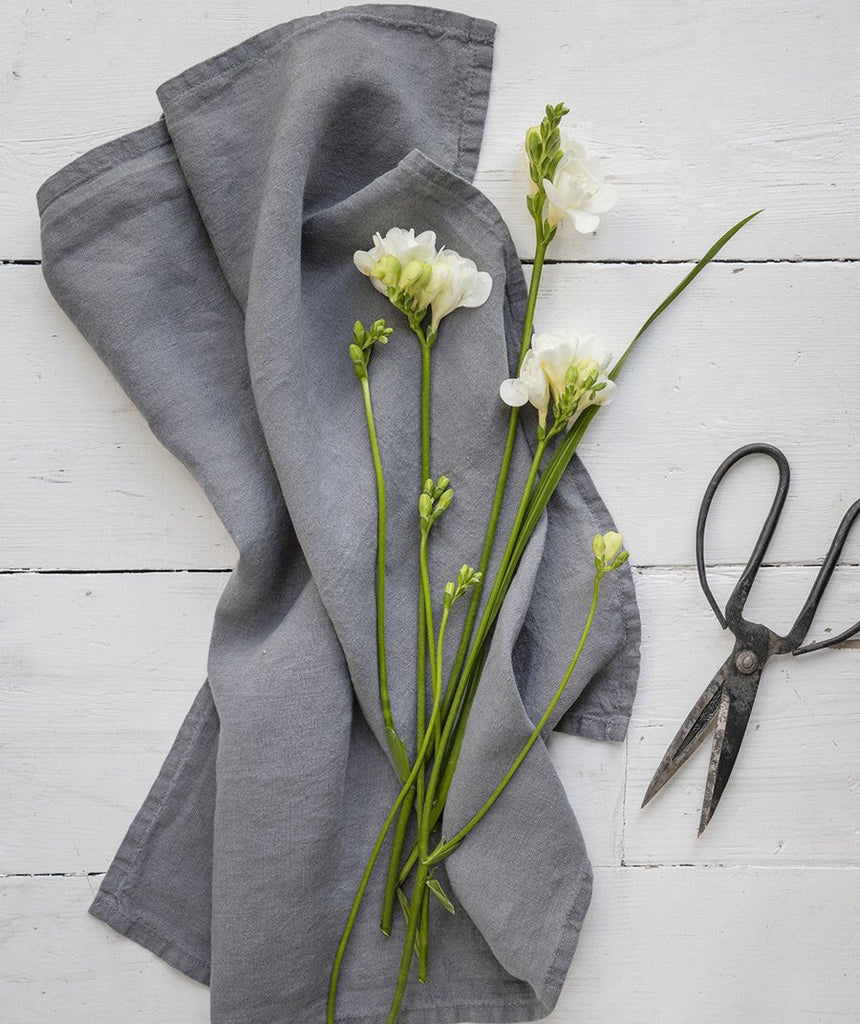 Washed Linen Tea Towels - Charcoal Grey