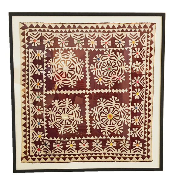 Vintage Indian Quilt Block Framed Wall Decor