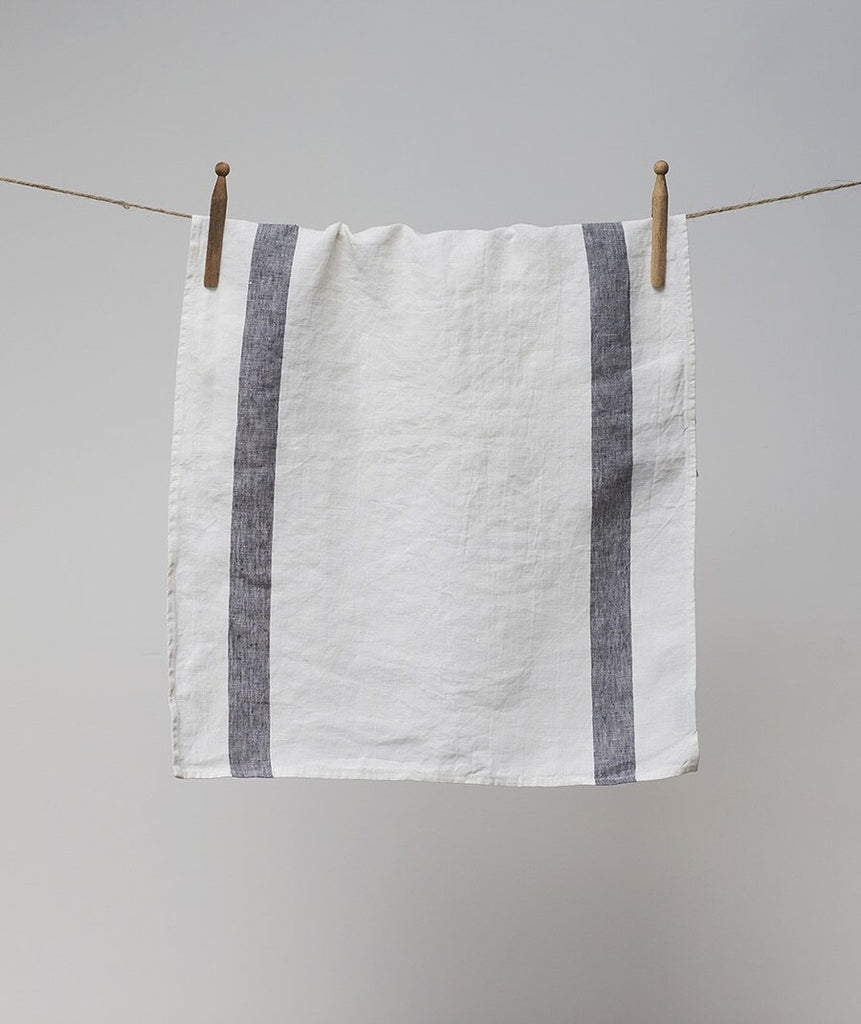 Striped Tea Towel - Charcoal