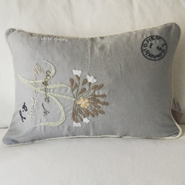 Grey with Single Flower Lumbar Pillow | Living | Fork + Rose: Home and Table Decor
