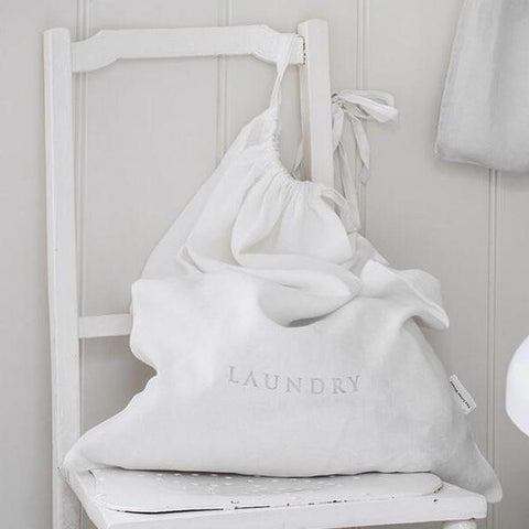 White Linen Laundry Bag