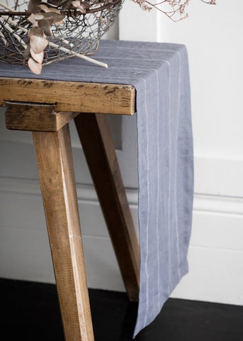 Steel with White Stripe Runner | Fork + Rose: Home and Table Decor