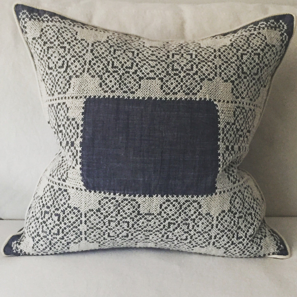 Blue with White Hand Cross Stitch Pillow | Living | Fork + Rose: Home and Table Decor