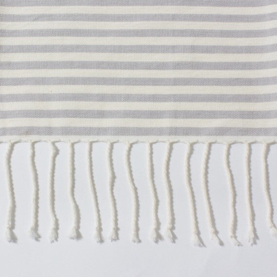 Grey Semi-Striped Oversize Towel | Outdoor | Fork + Rose: Home and Table