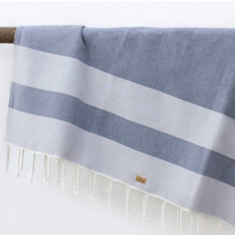 Grey with Blue Stripe Beach Blanket | Outdoor | Fork + Rose: Home and Table Decor