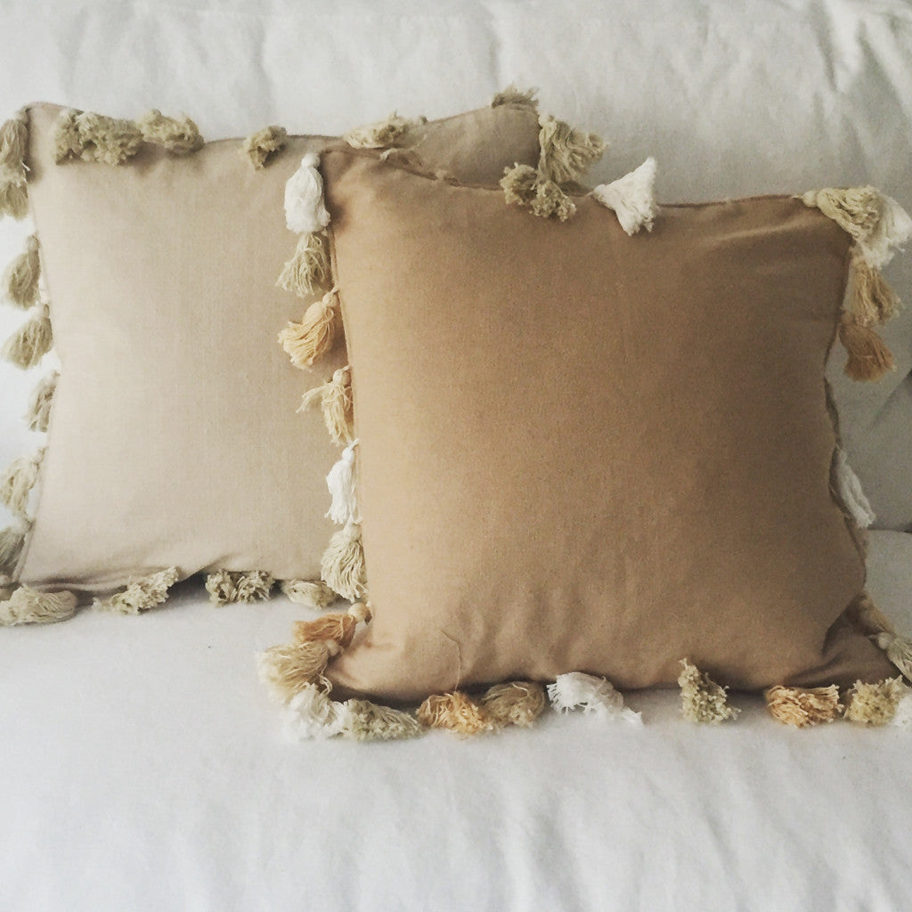 Tan Pillows with Tassels | Living | Fork + Rose: Home and Table Decor