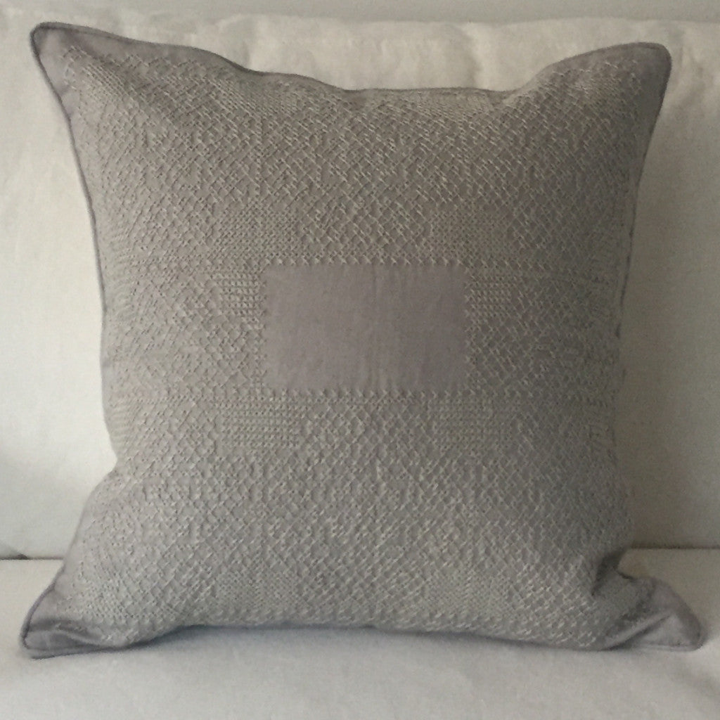 Grey Hand Cross Stitch Pillow