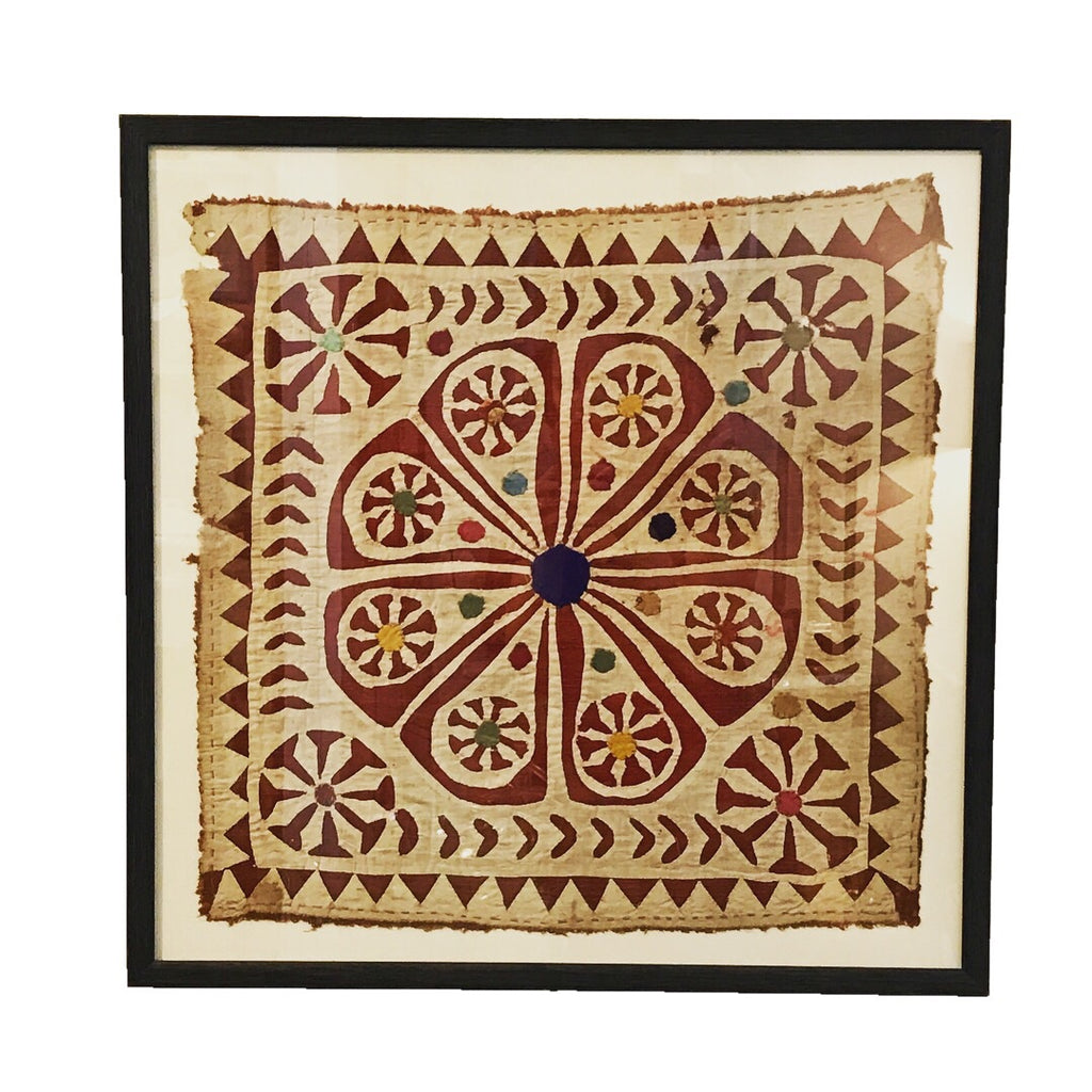 Antique Indian Quilt Block Framed Wall Decor