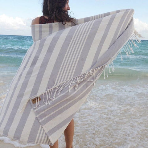 Grey Multi-Stripe Oversize Towel | Outdoor | Fork + Rose: Home and Table
