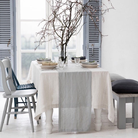 Vintage Grey with White Stripe Runner | Table | Fork + Rose: Home and Table Decor
