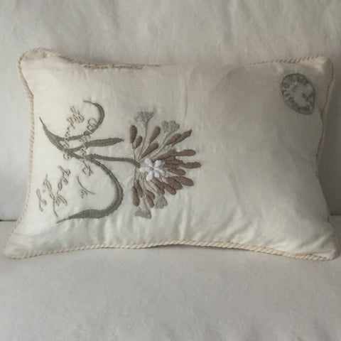 Off White with Single Flower Silk Pillow | Living | Fork + Rose: Home and Table Decor