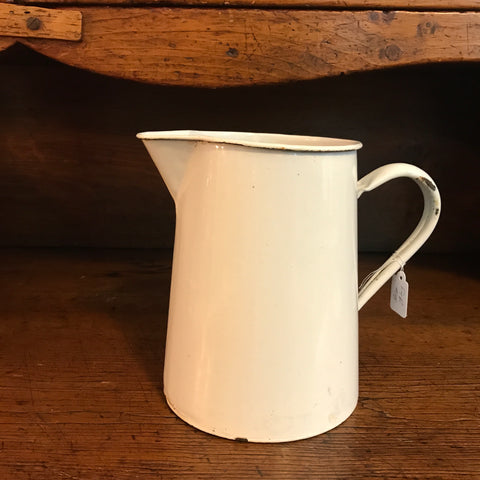 Vintage White Enamel Pitcher