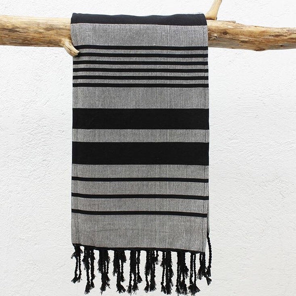 Black Multi-Stripe Beach Blanket | Outdoor | Fork + Rose: Home and Table