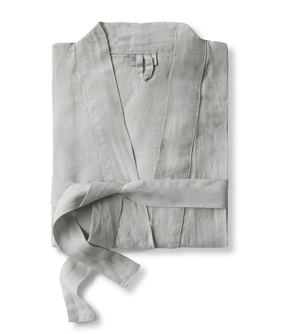Dove Grey Linen Bathrobe
