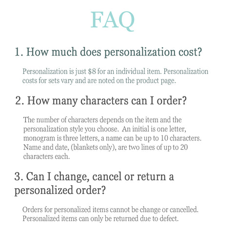 Personalization FAQ - Personalized Magnolia Baby Layett at Liam and Lilly