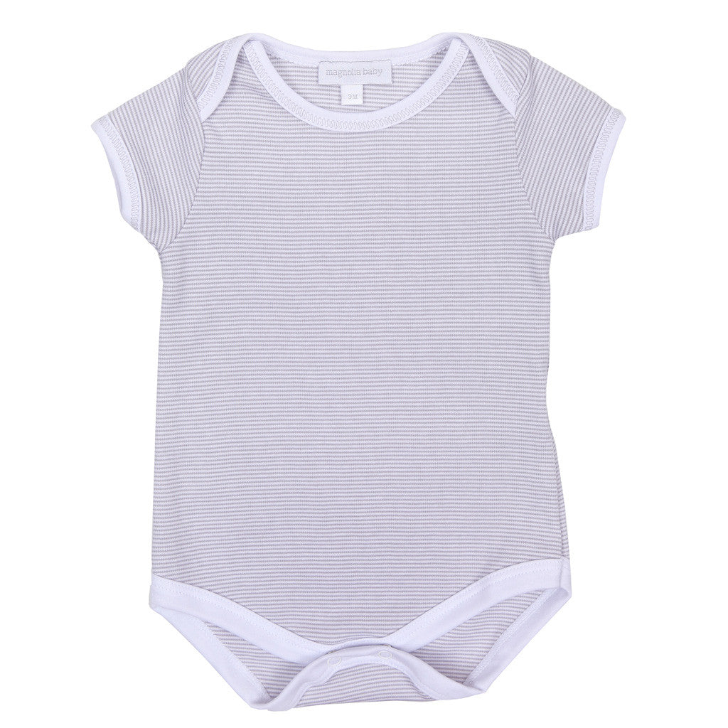 Magnolia Baby Essentials Grey Mini Stripe Short Sleeve Bodysuit  - FREE Personalization Available