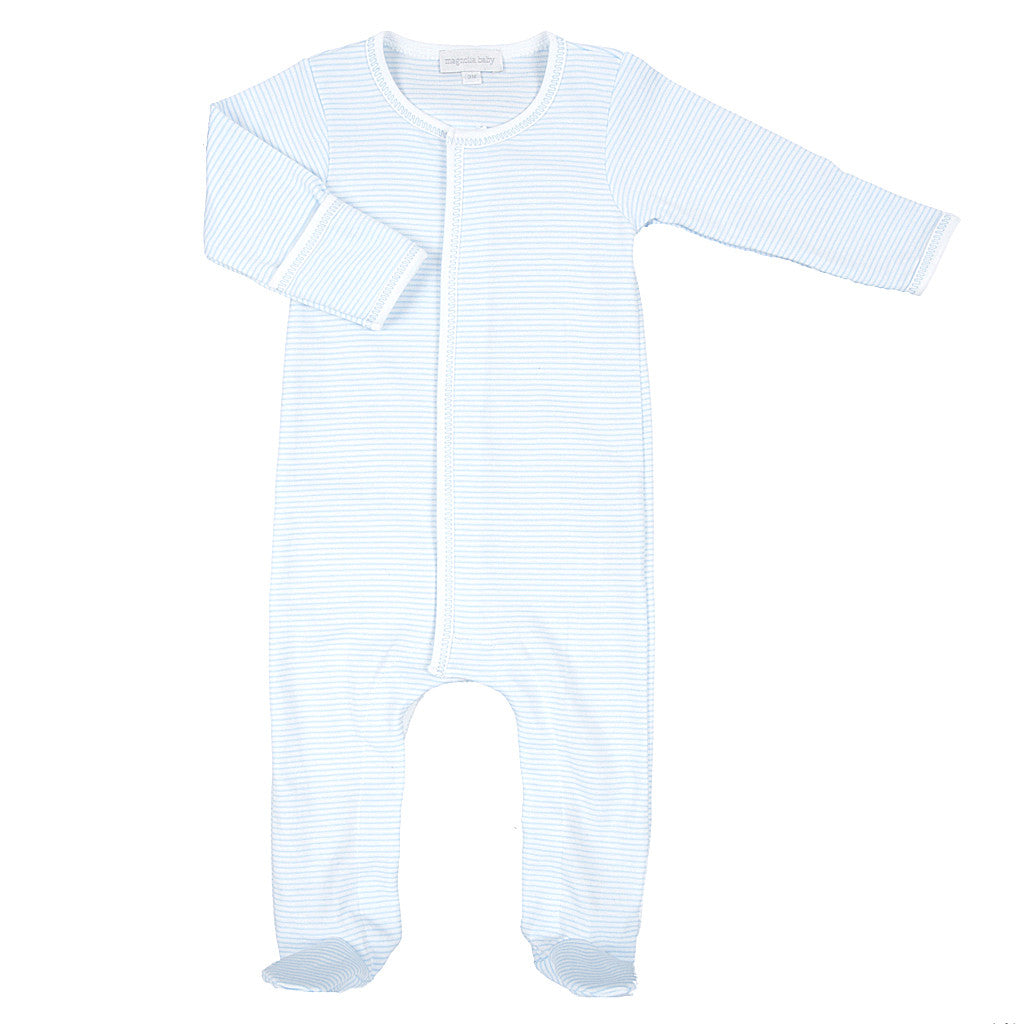 Magnolia Baby Blue Mini Stripe Footed Sleeper