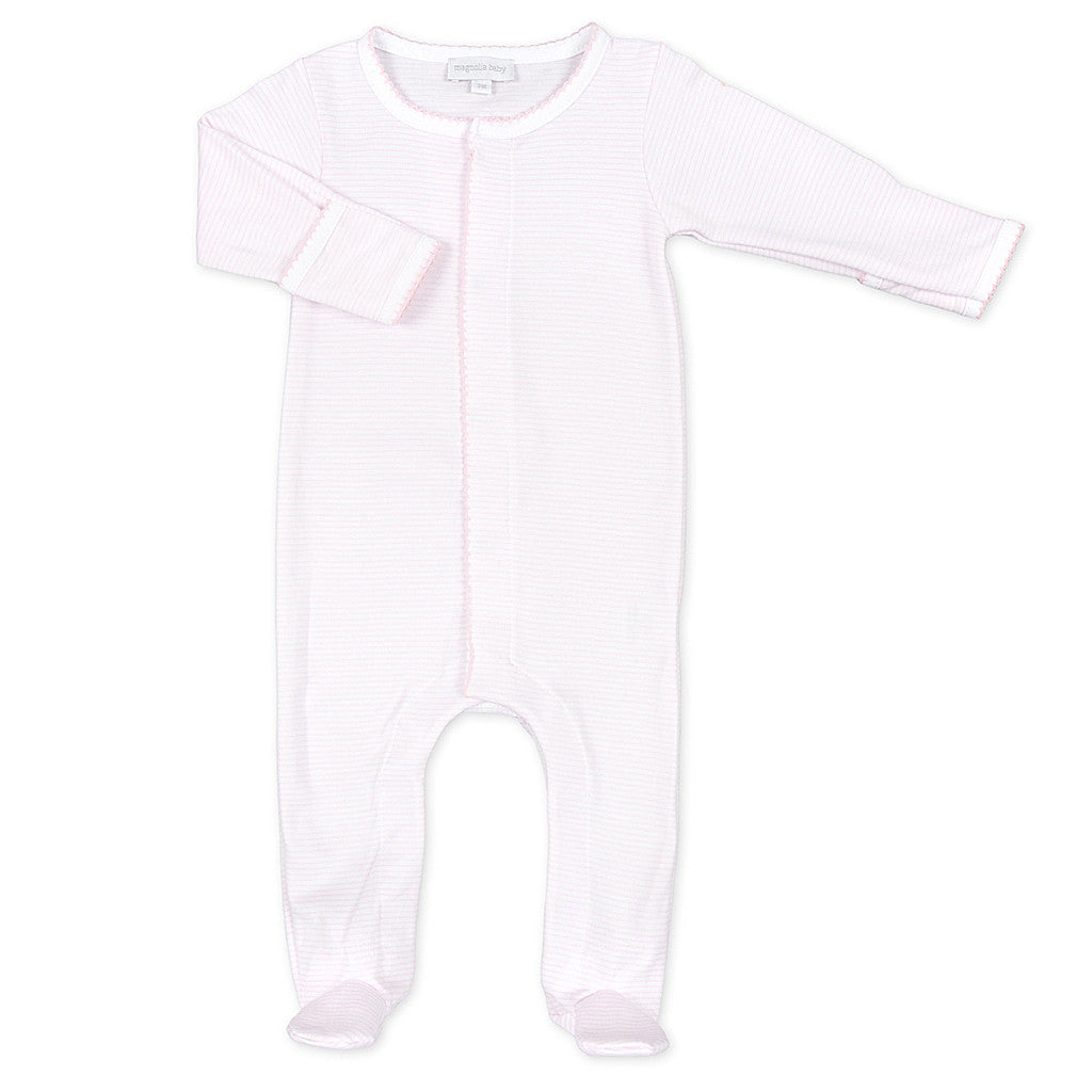 Magnolia Baby Pink Mini Stripe Footed Sleeper