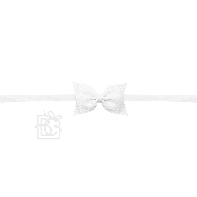 Sophia White Baby Headband with Grosgrain Bow