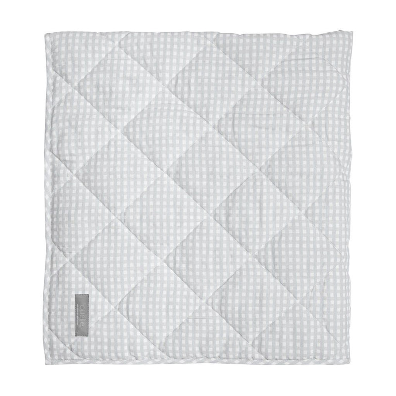 Grey Gingham Reversible Baby Blanket / Play Mat - Personalization Available