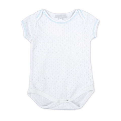 Magnolia Baby Essentials White with Pink Trim Short Sleeve Bodysuit - Personalization Available