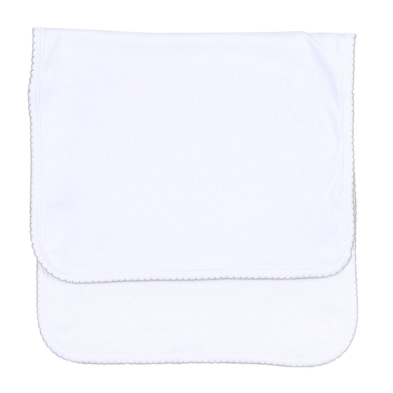 Magnolia Baby Essentials White with Grey Trim Burp Cloth - Personalization Available