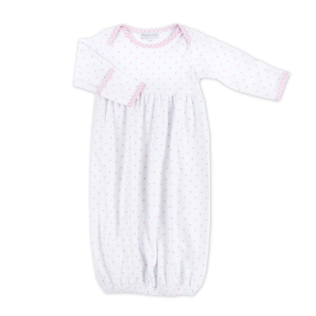 Magnolia Baby Pink Gingham Dots Gathered Gown