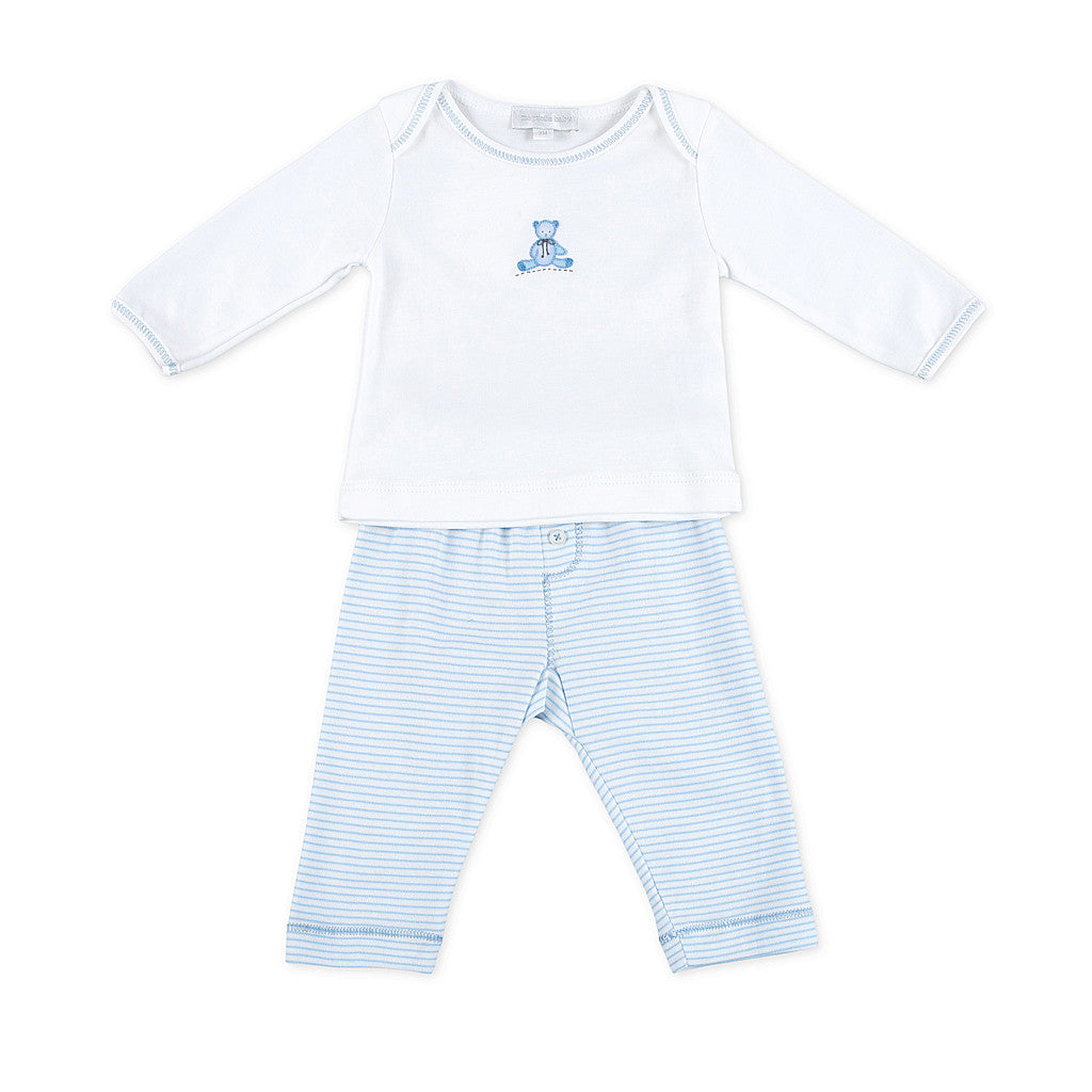 Magnolia Baby Blue Teddy Bear Pants Set