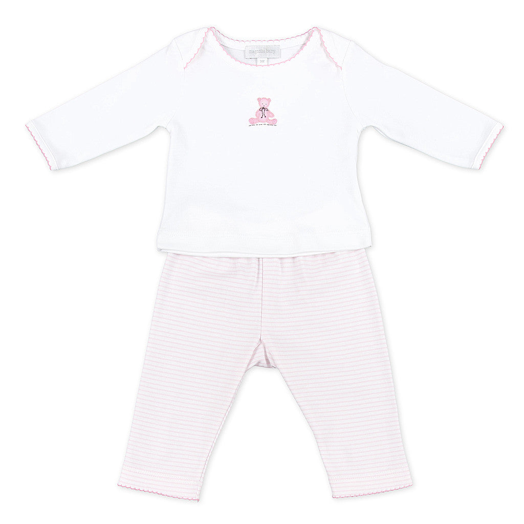 Magnolia BAby Pink Teddy Bear Pants Set