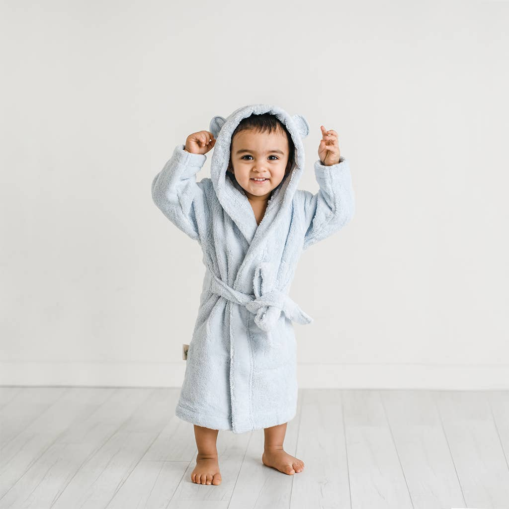 Light Blue Organic Cotton Robe - Personalization Available