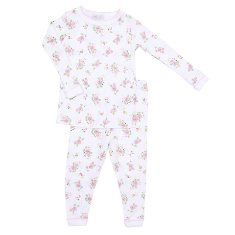 Magnolia Baby Essentials White with Pink Trim Ruffled Pants Set