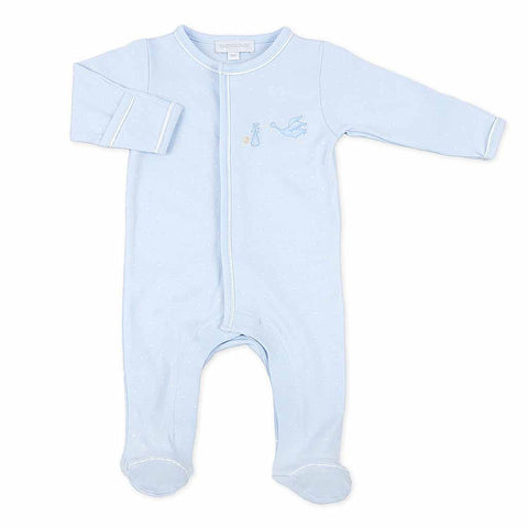 Magnolia Baby Blue Gingham Dot Smocked Gown Layette Set