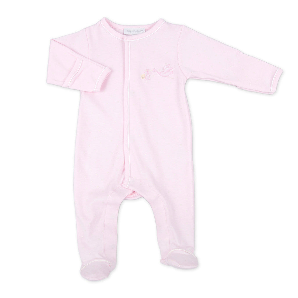 Magnolia Baby Worth the Wait Pink Embroidered Footie