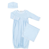 Magnolia Baby Blue Mini Stripe Pleated Gown Set