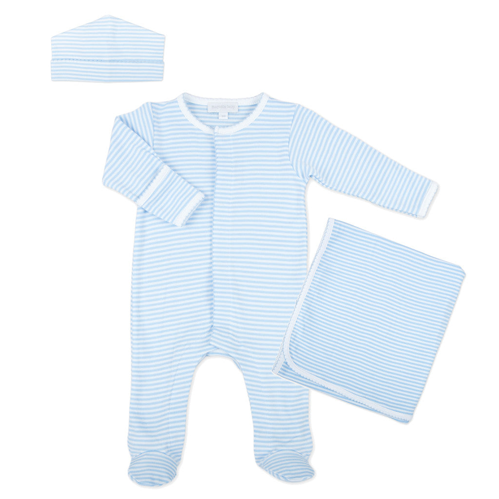 Magnolia Baby Essentials Blue Stripe Sleepsuit Layette Set